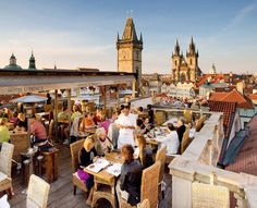 "Terrace restaurant ""At Prince""in Old Town of Prague, Czechia #prague #restaurant #czechia"