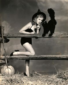 Vintage Halloween | Black & White | Old Hollywood | pretty girl witch & a black cat