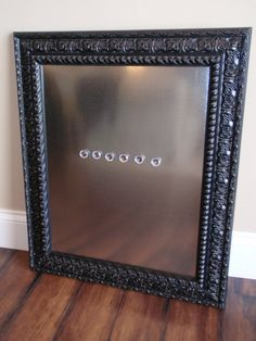 "The ""Catherine"" Gorgeous Black Detailed Framed Stainless Steel Magnet Bulletin, Memo Board, Dry Erase Board, 6 Jewel Magnets. $77.00, via Etsy."