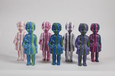 Stripey Clonette Dolls ~ Colourful Plastic Dolls from Ghana