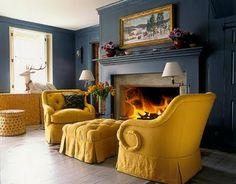 18 new ideas for alternative seating living room wall colors Room Colors, Wall Colors, Navy Walls, Gold Home Decor, Mellow Yellow, Mustard Yellow, Chair And Ottoman, Tufted Ottoman, Tufted Chair