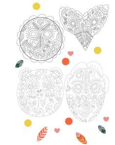 Colorithérapie - Visuels à colorier, téléchargeable gratuitement ! Pourquoi ne pas se poser quelques minutes ensemble, petits et grands, pour partager un moment de détente ? C'est dans cette idée que MAMADOUCE vous propose ces planches ZEN à colorier ! Quatre masques à mettre en couleur pour le plaisir. Zen, Creations, Masks, Floor, Color