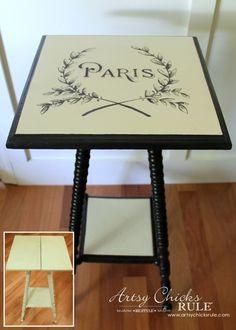 PARIS SIDE TABLE MAKEOVER - Before and After - artsychicksrule.com. //  LOVELOVELOVE!!!  ♥A