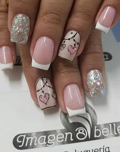Easy Spring Nail Designs Art Ideas for Short Nails Valentine's Day Nail Designs, Short Nail Designs, Nail Designs Spring, Pink Nail Art, Glitter Nail Art, Pink Nails, Chevron Nails, Valentine Nail Art, Valentines Day