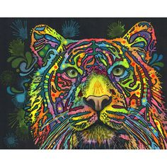 This colorful Tiger graphic was created by artist Dean Russo and made into a wall decal sticker by My Wonderful Walls. Animal Pop Art available in multiple sizes.