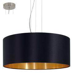 EGLO Maserlo Pendelleuchte 31605 Textil, 3-flammig, 180W, Ø 53 cm schwarz, gold