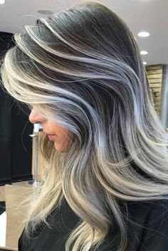 Women's Hairstyles : 24 Stylish Ideas with Highlights for Dark Hair ★ Grey Colored Hair Highlights … Hair Without Highlights, Blonde Hair With Highlights, Ash Blonde Hair, Frosted Hair, Grey Hair Inspiration, Transition To Gray Hair, Shaved Hair, Hairstyles Haircuts, Hair Looks