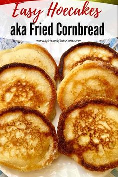 Easy old-fashioned hoecakes are versatile little yellow miracles of crispy warm deliciousness Also known as cornmeal pancakes fried cornbread or johnnycakes these make-ahead wonders can be served for breakfast lunch or dinner straight out of the skillet Fried Cornbread, Jiffy Cornbread Recipes, Cornbread Salad, Cornmeal Pancakes, Hoe Cakes, Cooking Recipes, Cooking Okra, Vegetarian Cooking, Easy Cooking