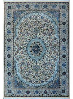 "Ivory Oriental Isfahan Rug 6' 1"" x 9' 1"" (ft) - No. 10486  http://alrug.com/beige-oriental-kirman-rug-6-1-x-9-1-ft-no-10486.html"
