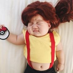 This mom dresses her baby up in the most amazing costumes while she naps Baby Cosplay, Misty Cosplay, Funny Baby Costumes, Girl Costumes, Costume Ideas, Halloween Costumes, Funny Babies, Funny Kids, Cute Babies