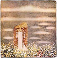 """Illustration by John Bauer for 'Lilla prinsessan Tuvstarr' from """"Bland Tomtar och Troll"""" (1913)"""