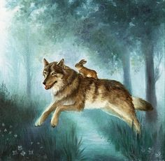 Isabella Rides the Wolf Watercolor Paper Print, Giclee, Isabella