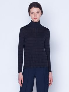 Silk Check Rib Pullover Knitted pullover in silk check rib, featuring a mock neck and long sleeves Silk Taffeta, Silk Crepe, Randal, Autumn Fashion Casual, Mock Neck, Sleeve Styles, Parka, Stylists, Turtle Neck