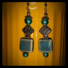 Free teal porcelain, pearls and silver dangles Free for you with any purchase from my closet =) Handmade by me with tons of Love ?  All made of high quality beads!  1 of a kind designs!  #Earart  #1ofakind  #uniqueisgreat ! #handmadeisthebomb!  #1ofakinddesigns! #greatdeal  #Freeisawesome! ! ! ! ! ! ! Mine  Jewelry Earrings