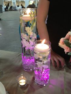 Cylinders with floating candles