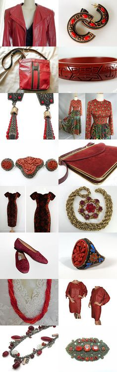 Get RED-Y For Fall! #voguet. A splendid collection of vintage clothing, jewelry and accessories from the Vintage Vogue team in rich reds that are perfect for fall! This collection features the shop of the day, Justelechose! Curator: Karen Marlette from https://www.etsy.com/shop/HauteVintageJewels #Etsy #EtsyTreasury #Red #Vintage #Fashion #Jewelry