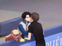 Eren, Levi, yaoi, EreRi, RiRen, kissing, ice skating rink, Yuri!!! on Ice, crossover, Titan, tissue box, cute; Attack on Titan