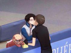 Eren, Levi, yaoi, EreRi, RiRen, kissing, ice skating rink, Yuri!!! on Ice, crossover, Titan, tissue box, cute; Attack on Titan