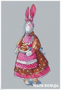 Rabbit baker, DMC Cross Stitch Chart Needlepoint Pattern Embroidery Chart Printable PDF Instant Down Easy Cross Stitch Patterns, Dmc Cross Stitch, Simple Cross Stitch, Cross Patterns, Needlepoint Patterns, Cross Stitch Animals, Cross Stitch Designs, Cross Stitching, Everything Cross Stitch