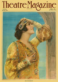 "Lina Cavalieri on the cover of ""Theatre Magazine"", June Vintage Vogue, Vintage Ads, Vintage Prints, Vintage Posters, Vintage Images, Old Magazines, Vintage Magazines, Alphonse Mucha, Gustav Klimt"