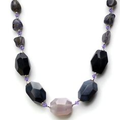 Short Chunky Gray Agate Iolite Statement Necklace by ALFAdesigns