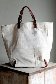 Diy Sac, Linen Bag, Best Bags, Shopper, Mode Style, Handmade Bags, Beautiful Bags, Tote Handbags, Bag Making