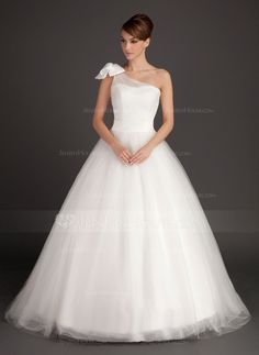 Ball-Gown One-Shoulder Sweep Train Satin Tulle Wedding Dress With Ruffle Bow(s) (002015487)