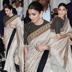 Anushka looks stunning as ever 🖤 Sari Blouse Designs, Saree Blouse Patterns, Indian Dresses, Indian Outfits, Indian Clothes, Stylish Sarees, Trendy Sarees, Saree Trends, Saree Look