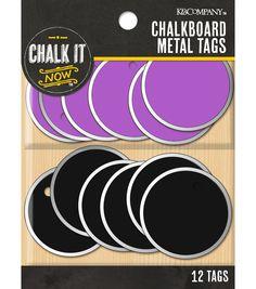 Chalk it Now - Purple Chalkboard Small Circular Metal Tags