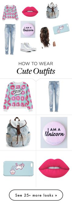 """High school outfit"" by unicornsordonuts on Polyvore featuring Dsquared2, WithChic, Converse, Lime Crime and Aéropostale"