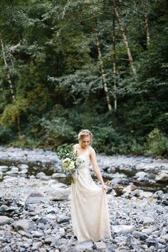 Geometric gold beaded wedding dress | Image by Abby Tohline Photography Co.