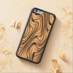 Modern Simple Black Abstract Swirl Waves Pattern Carved® Cherry iPhone 6 Bumper