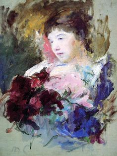 Mary Cassatt (American artist, 1844-1926) Young Girl Holding a Loose Bouquet of Flowers