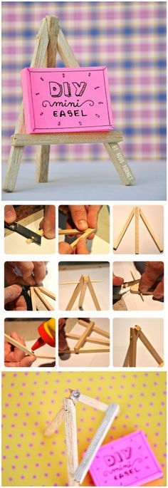 How to diy mini easel craft stick crafts, cute crafts, mini craft, po Diy And Crafts Sewing, Adult Crafts, Crafts For Girls, Crafts To Sell, Cute Crafts, Craft Stick Crafts, Craft Gifts, Mini Craft, Diy Crafts Videos