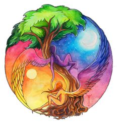 Ying Yang, the tree of life. I Tattoo, Cool Tattoos, Tatoos, Night Tattoo, Yin Yang Tattoos, Psy Art, Doodle Inspiration, Art Plastique, Cool Art