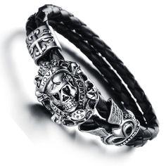 Stainless Steel Skull & Leather Bracelet