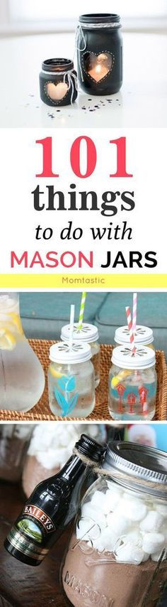 101 Things to Do with a Mason Jar – Crafts and DIYs If you don't have any mason jars, go out and get some, would ya? Here are 101 things to do with a mason jar—from mason jar crafts to DIYs to pin now and try later. Mason Jar Art, Pot Mason, Mason Jar Gifts, Painted Mason Jars, Diy Crafts With Mason Jars, Decorating With Mason Jars, Mason Jar Candle Holders, Mason Jar Candles, Wine Bottle Crafts