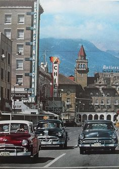 'Main Street' (circa)1958 - Colorado Springs, Colorado. Peaks Pike is cloud covered just beyond. ~ Photo by by...Christiane Montone.©