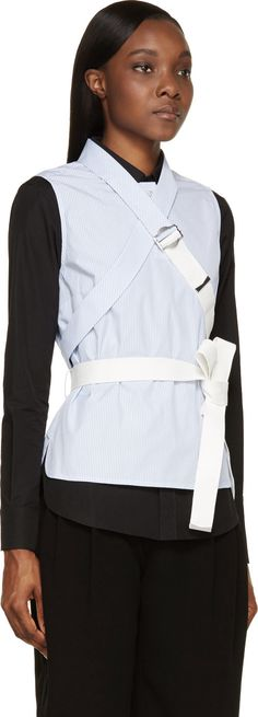 Marc by Marc Jacobs: White & Blue Criss-Cross Blouse | SSENSE