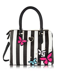 Betsey Johnson Be Mine Multi Compartment Tote Shoulder Bag 3D Butterfly  Stripe  gt  gt  9593607ebe1