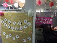 Cubicle Birthday Decors! Joint birthday party, you can get everything at Michaels! ;)