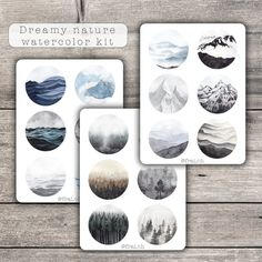 Dreamy Nature stickers kit for bullet journal Planner Stickers, Watercolor Illustration, Watercolor Paintings, Bujo, Plastic Components, Forest Mountain, Kit, Illustrations, In This World