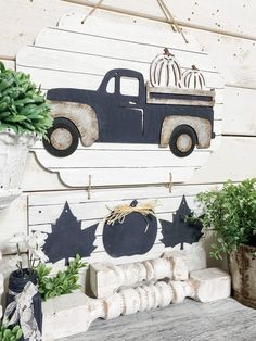 Dollar Tree Rustic Fall Truck DIY - The Makers Map with Amber Strong Dollar Tree Halloween, Dollar Tree Fall, Dollar Tree Decor, Dollar Tree Store, Dollar Tree Crafts, Dollar Tree Pumpkins, Fall Halloween, Halloween Crafts, Dollar Stores