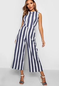 ee8f6808c66 Extra Off Coupon So Cheap Stunning Boohoo High Neck Wide Leg Navy White  Stripe Jumpsuit Size 14