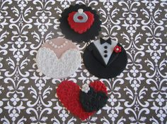 Engagement/Wedding Cupcake Toppers by Lynlee's Petite Cakes, via Flickr