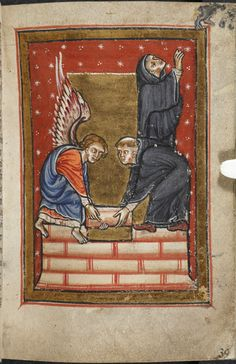 Miniature of St Cuthbert building his hermitage on the island of Farne, with the help of an angel, from Chapter 17 of Bede's prose Life of St Cuthbert, England (Durham), 4th quarter of the 12th century, Yates Thompson MS 26, f. 39r
