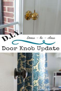 DIY Brass to Class Door Knob Update