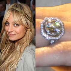 Nicole Richie wears a classic ring with a modern twist. A round brilliant cut diamond with pave diamonds surrounding it. https://www.facebook.com/SpitzJewelers