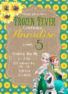Frozen Fever Birthday Invitation 5x7 by BarefootStudiosOk on Etsy