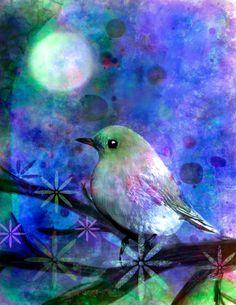 Midnight Oasas 8 x 10 inch archival print sun sunset garden Bird flowers mixed media watercolor collage